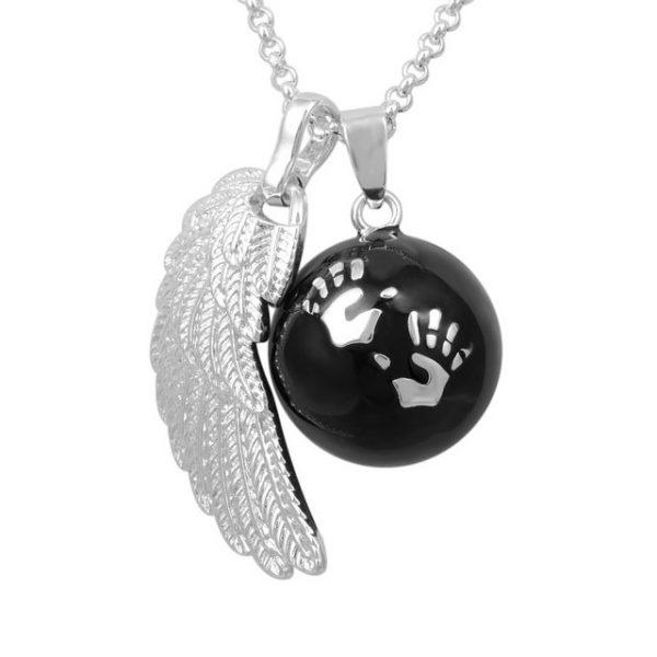 collier bola mains argent et noir