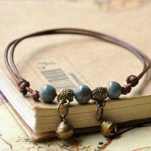 Bracelet cuir artisanal femme bleu