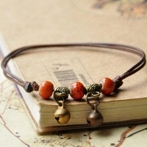 Bracelet cuir artisanal femme corail