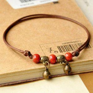 Bracelet cuir artisanal femme rouge