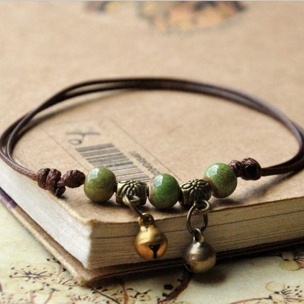 Bracelet cuir artisanal femme vert foncé