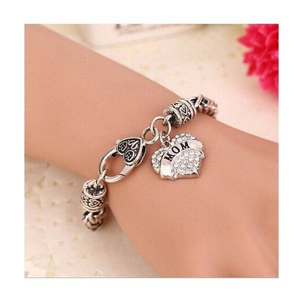 bracelet maman je t'aime, à breloque coeur